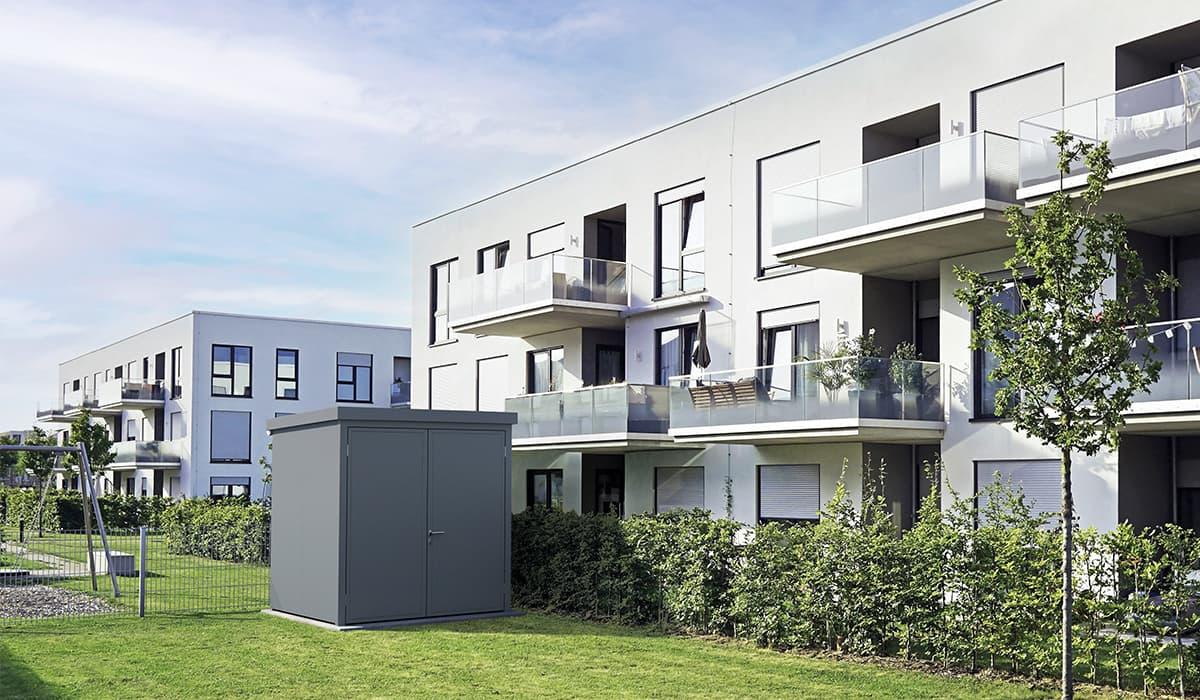 <h5>Gartenhäuser aus Vollblech RAL 7016</h5>