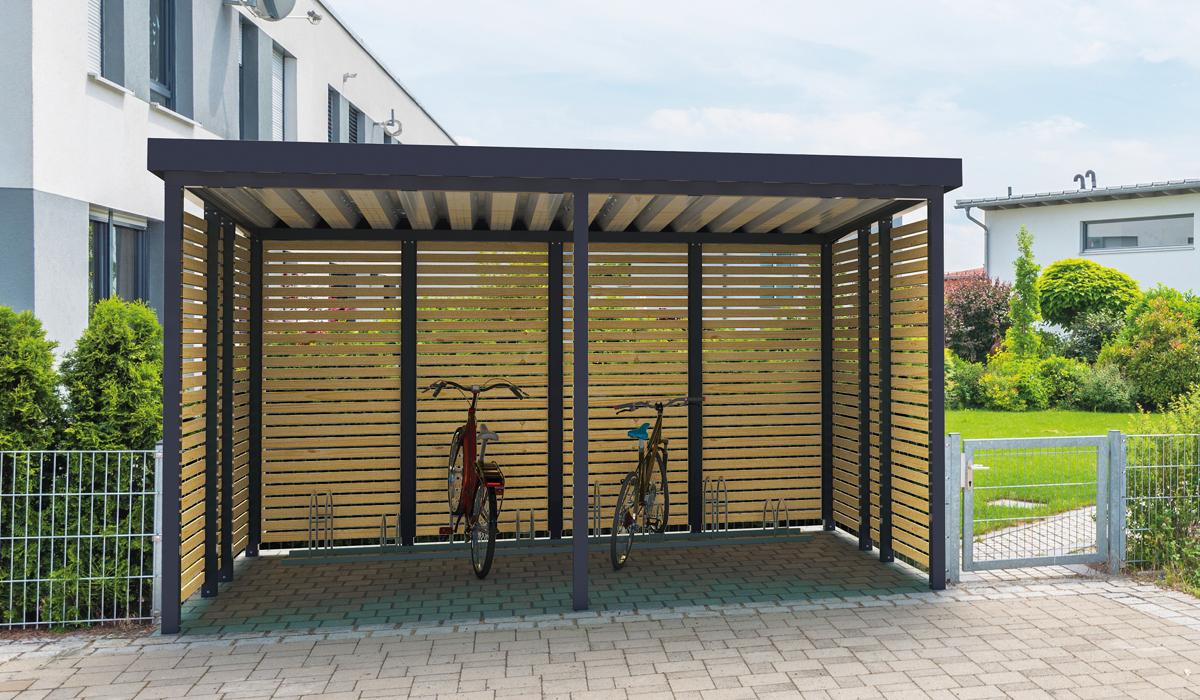 <h5>Fahrrad-Einhausung aus Holz offen</h5>