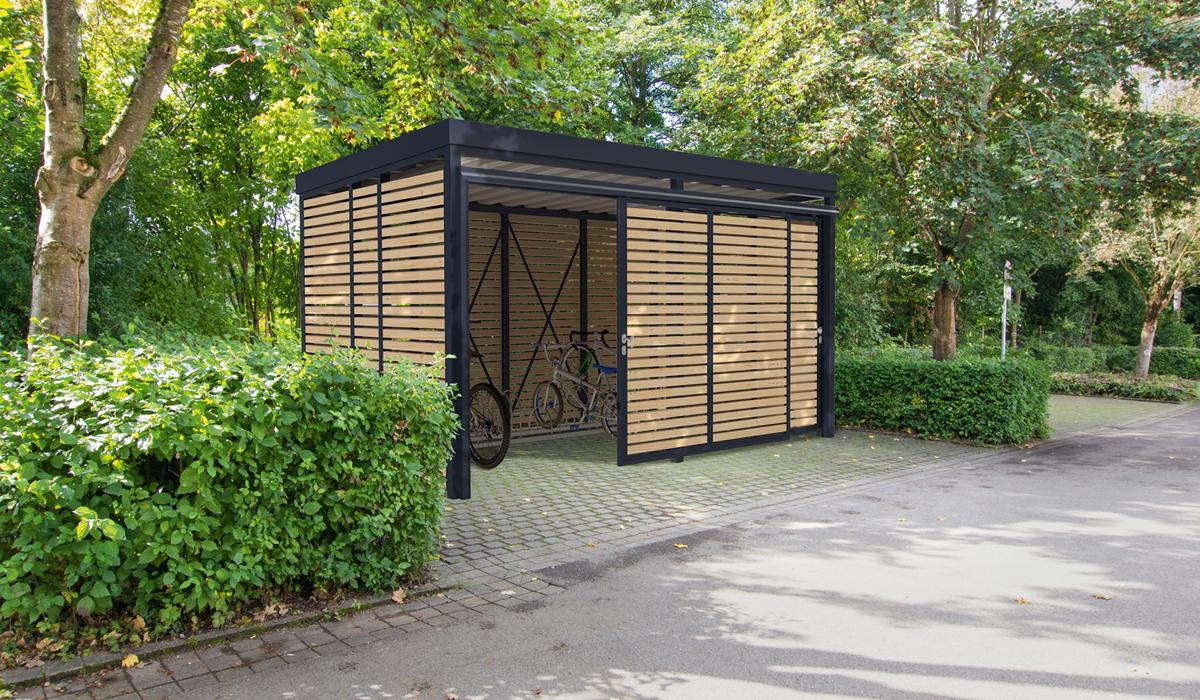 <h5>Fahrrad-Einhausung aus Holz geschlossen</h5>
