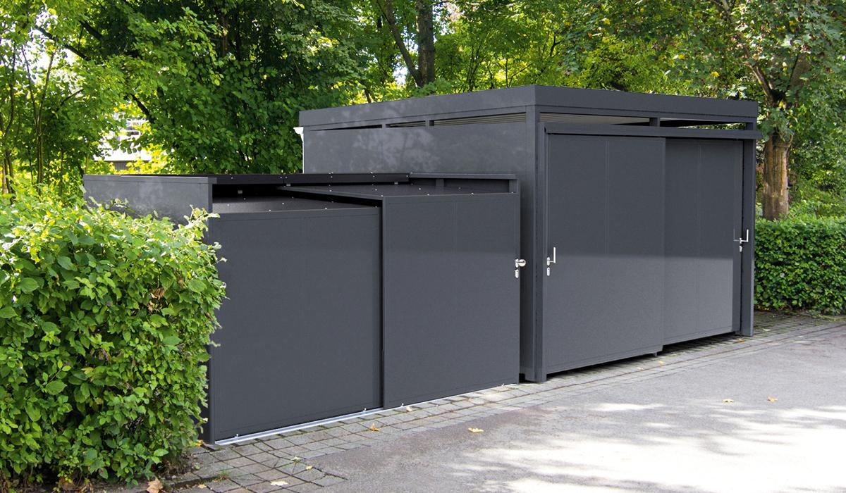 <h5>Mülltonnen-Box in Kombination mit einer Mülltonnen-Einhausung</h5>