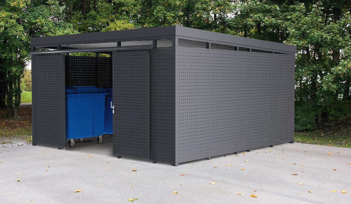 <h5>Mülltonnen-Einhausung aus Quadratlochblech</h5>