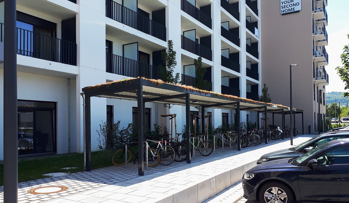 <h5>Bikeport ohne Füllung mit Gründach</h5>