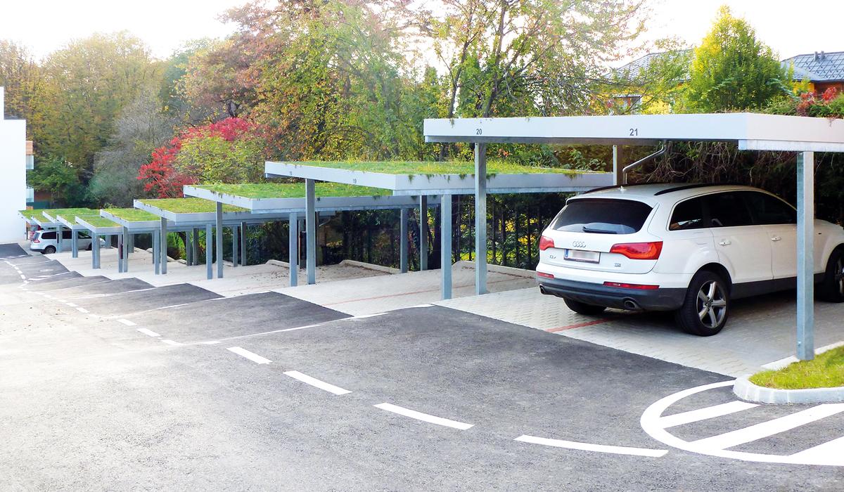 <h5>Carport Reihenanlage mit Gründach</h5>