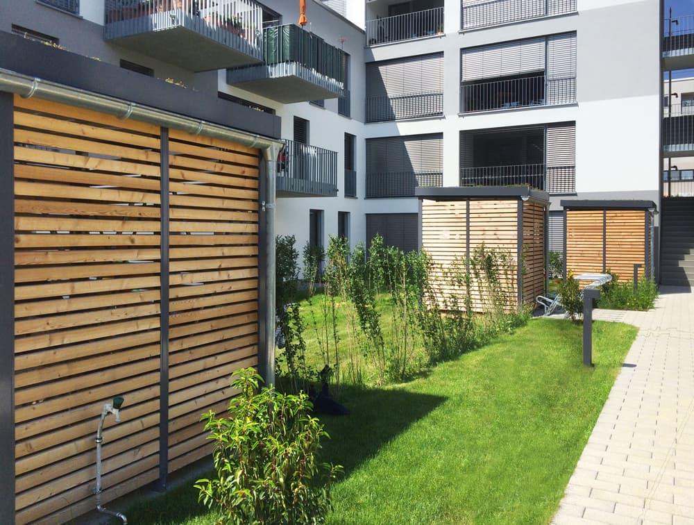 <h5>Stellflächen für Mülltonnen, Fahrräder oder Gartengeräte</h5>