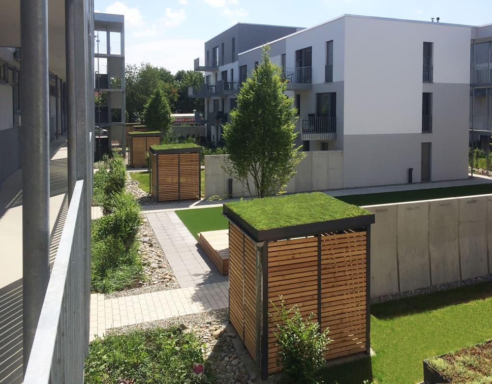 <h5>Einhausung mit Gründach als Regenwasserrückhalt</h5>