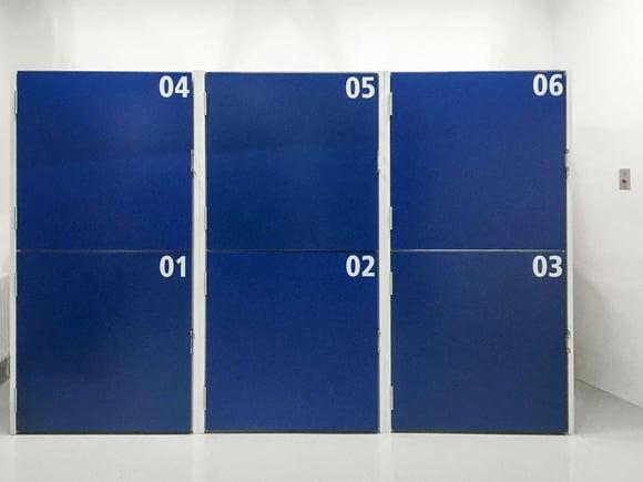 Lager-Box Nummerierung blau